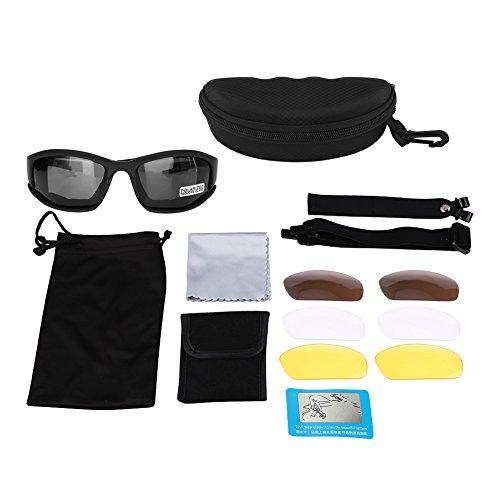 Qiilu UV400gafas militares polarizadas gafas de sol 4blandas para el ciclismo de caza en plein air de tiro