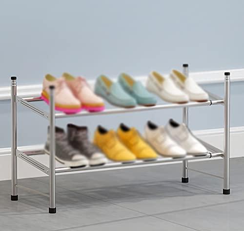 LYYJF Zapatero con 2 Niveles, Organizador de Zapatos de Tela no Tejida, para salón, vestidor,Gris
