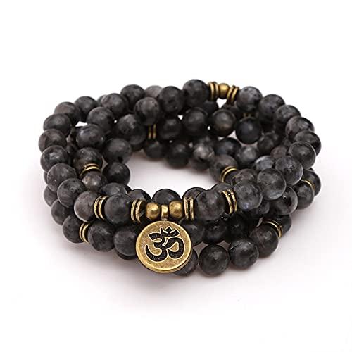 XXXXW Pulsera Niña 8MM Negro Flash Piedra Multi-Capa Buda Pulsera Buddha Yoga Lucky 108 Pulsera para Hombres Mujeres