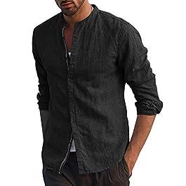 Fueri Men's Long Sleeve Shirt Cotton Linen Shirt Button Down Casual Henley Shirts Slim Fit Light Cotton Summer Dress Shirt