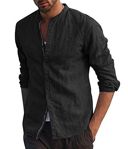 Taoliyuan Mens Linen Cotton Banded Collar Long Sleeve Button Down Casual Shirts Regular Fit (X-Large, A-Black)