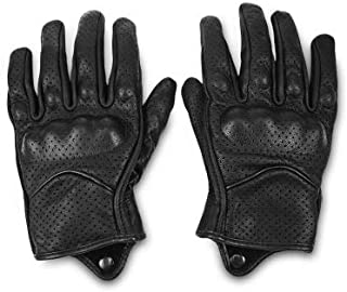 LIShuai Motorcycle Gloves Outdoor Leather Gloves Sports Full Finger Moto Waterproof Riding Protective Armor Gears (Black,M)