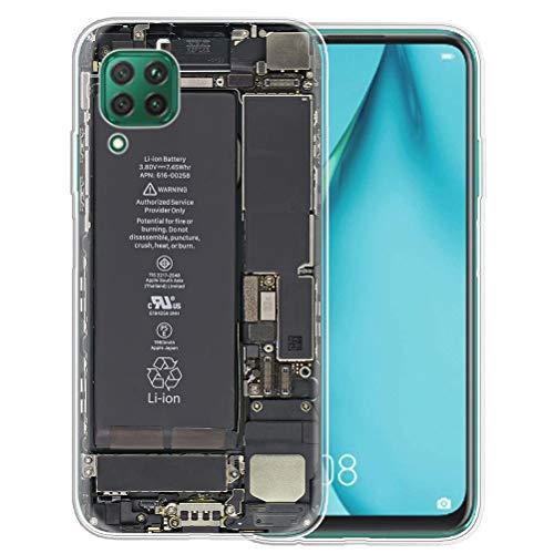 Pnakqil Funda Huawei P40 Lite Transparente Silicona con Dibujos Carcasa Ultra Fina Suave Caso Bumper Gel TPU Piel [Antigolpes] Protectora Cover para Huawei P40 Lite/Nova 6 SE, Cámara