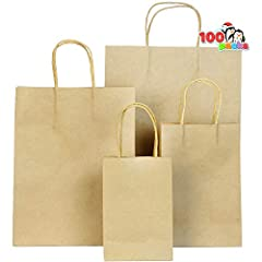 """SUPER VALUE PACK. Our Christmas wrapping paper bags include 100 pieces of Kraft material gift bags in 4 different sizes (13x5x10""""; M: 10.5x4.25x8""""; S:8x5.25x3.75"""" and XS 6x4.3x2.5"""" ). REAL FUNCTION. Our Christmas wrapping paper bags features 4 differ..."""