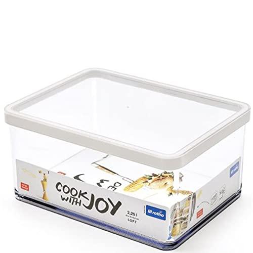 Rotho Loft rechteckige Vorratsdose 2,25l mit Deckel und Dichtung, Kunststoff (SAN) BPA-frei, weiss/transparent, 2,25l (20,0 x 15,0 x 9,6 cm)