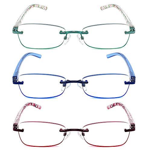 JJWELL 3 Pack Blue Light Blocking Reading Glasses for Women, Tinted Rimless Anti Glare/Eyestrain/UV Filter Metal Spring Hinge Trendy Readers