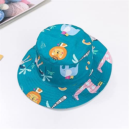 Sombrero para niños Gorra con Estampado de Verano para niños y niñas Gorros para el Sol para niños Sombreros para bebés de Dibujos Animados de 6 Meses a 8 años-Blue animal-1-48cm 6-12 Months