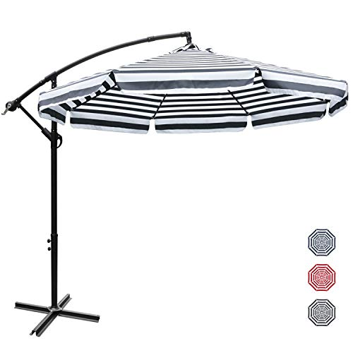 ABCCANOPY 270cm Sonnenschirm,Marktschirm Gartenschirm Terrassenschirm,Gestell Stahl,Schwarz+weiß