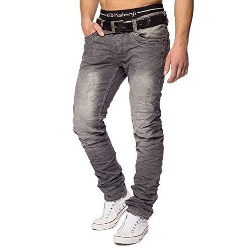 Jeans para Hombres Nice ID1412 Slim Fit Escritor Arruinado, Color:Gris, Talla de pantalón:W38