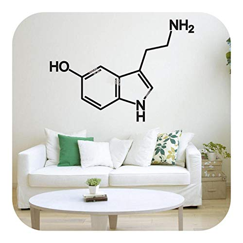 Wandtattoos Kinderzimmer, Creative Serotonin Molecule Wandaufkleber Wanddekor Kunst Aufkleber Chemische Formel Wissenschaftsklasse Dekor Arbeitszimmer Kunstplakat EB429-grau-78x56cm