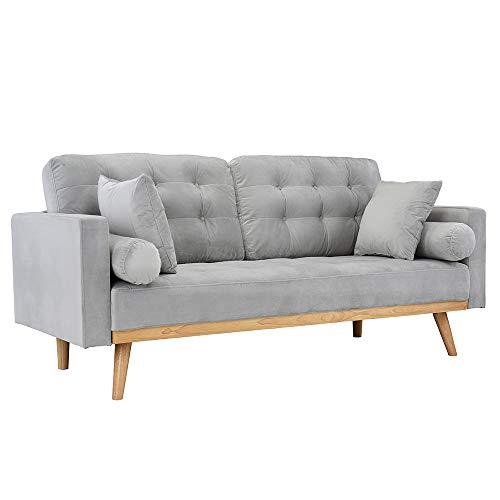 Casa Andrea Milano llc Mid Century Modern Tufted Upholstered Fabric Sofa Couch, Light Grey Velvet
