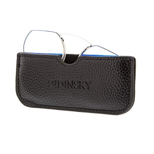 DIDINSKY Gafas de Lectura sin Patillas Graduadas Anti-bluelight para Hombre y Mujer. Anti-reflejantes y Anti Luz Azul Flexibles Irrompibles de Bolsillo. Black +2.5 – HERMITAGE ROUND