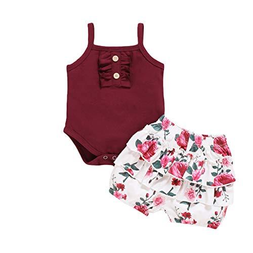Sunnymi - Conjunto de ropa para bebé de 0 a 24 meses, 2 unidades, sin mangas, con estampado de flores Vino 12-18 Meses