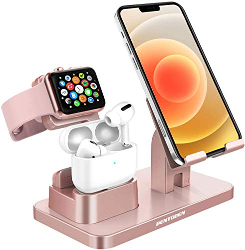 GaoBao Charging Stand for Apple iWatch 6/SE/5/4/3/2/1 Airpods Pro/2/1,3 in 1 Charging Dock Station for iPhone 12 11 Pro XS MAX X XR 8 7 6s Plus SE2 Samsung S21 Ultra S20 S10 Plus iPad Tablet,Rose Gold