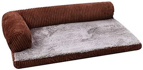 Plüsch-Hundebetten und orthopädische Cordsofa Matratze 5 cm Memory-Schaum abnehmbar, leicht zu reinigen,Brown
