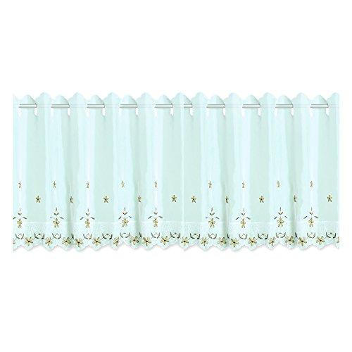 Bistrogardine Leonie ca. 155x45 cm Cafehaus Gardine weiß transparent Voile Fenstergardine Vorhang Bestickt #1295 (Gerbera)
