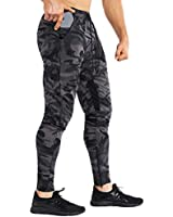 BROKIG Mens Thigh Mesh Gym Jogger Pants, Men's Casual Slim Fit Workout Bodybuilding Sweatpants with Zipper Pocket (Camo Gray, Large)