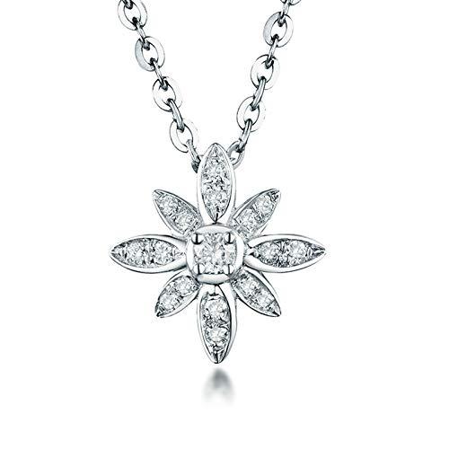 Bishilin Colgante de Cadena de Oro Blanco 18K para Mujer, Forma de Flores con Diamante de 0.18ct Collares Pendientes Elegante Collar para Mujeres Niñas Regalos para Cumpleaños Navidad