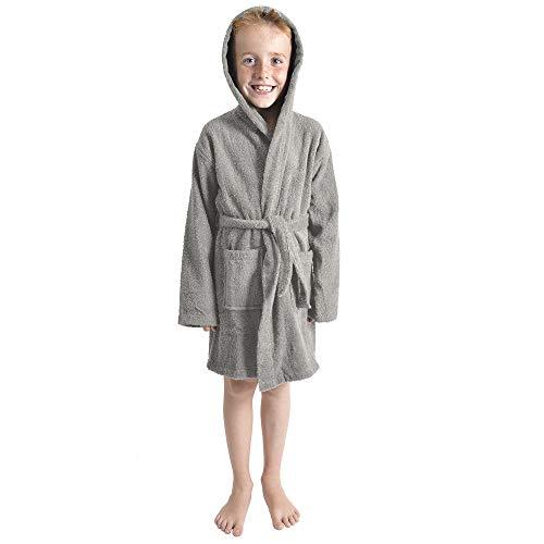CityComfort Kinder Morgenmantel Kinder Jungen Mädchen Kapuzen Frottee Bademantel 100% Baumwolle Terry Handtuch Bademantel Soft Frottee Lounge Wear 7-13 Jahre (11-12, grau)