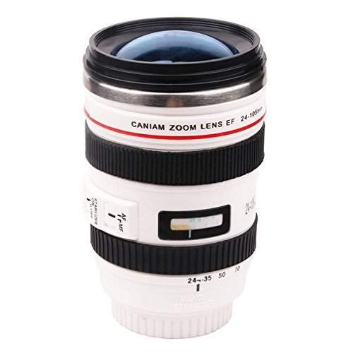 Trinkbecher - Kameraobjektiv Kaffeebecher, Kamera-objektiv-Kaffeetassen mit Deckel, Objektiv Tasse Edelstahl Becher, Kameratasse für Fotografen Videographen - Weiß