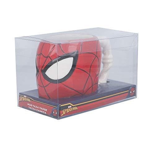 TAZA CERAMICA 3D CABEZA 410 ML | SPIDERMAN EN CAJA REGALO