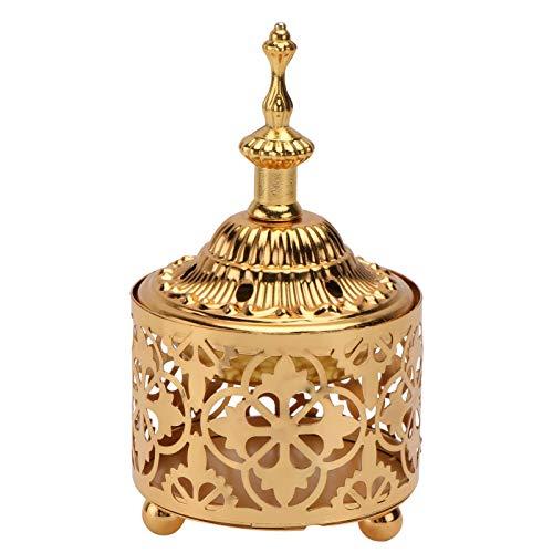 VALICLUD Quemador de incienso árabe de metal vintage, recipiente de incienso, lámpara aromática, soporte para bodas, Navidad, Año Nuevo, decoración de fiestas, adornos, color dorado