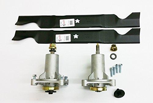 Deck Kit Compatible with 46' Craftsman Poulan Husqvarna, 2 187292 Spindles, 2 Blades for 405380 403170 532405380. Spindles Include Hardware