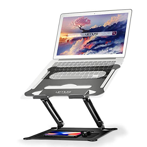 Urmust Laptop Notebook Stand Holder, Ergonomic Adjustable Laptop Stand Portable Laptop Riser Compatible with MacBook Air Pro, Dell, HP, Lenovo Light Weight Laptops Up to 15.6'(Black)