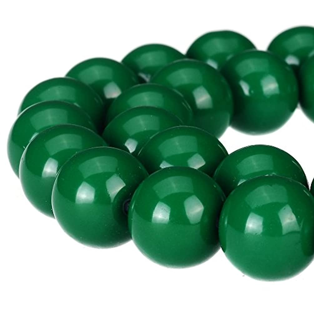 RUBYCA Round Opaque Painted Druk Czech Glass Beads Bulk Jewelry Making Supplies Strand (Green, 10mm)