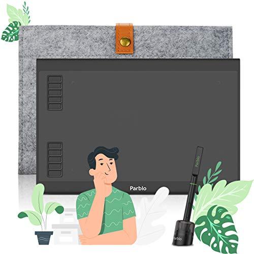 Tavolette grafiche Parblo - A610 Plus V2 10 x 6 pollici (con 10 tasti Express) con penna senza batteria, ideale per l apprendimento del lavoro a casa, per artisti alle prime armi