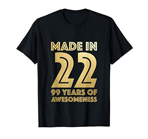 99° Regali di Compleanno Uomo Età Donna 99 Anni Nonno 1922 Maglietta