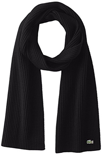 Lacoste Men's Classic Wool Ribbed Scarf, Black, One Size