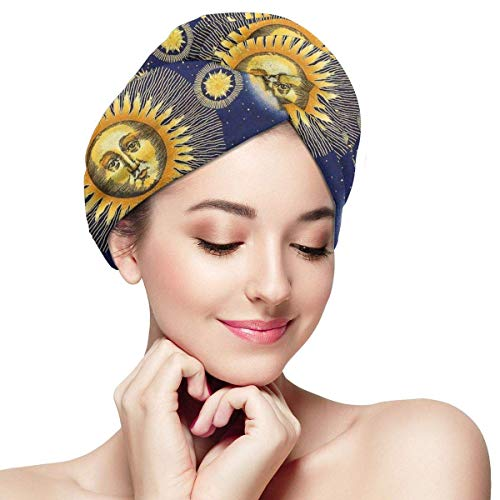 Agoyls Bonnet de Bain/Bonnet de natatio,Womens Hair Drying Towel Wrap with Button Stars Planet Zodiac Sun Moon Sky Soft Absorbent Microfiber Wrapped Bath Cap Twist for Long & Curly Hair