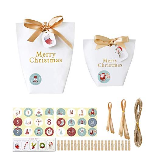 FEEE-ZC Adorno Personalizado de Navidad 2020, 24 Juegos de Bolsas Bolsa de Embalaje de Galletas Caja de Dulces para Fiestas Creativas para Suministros de Regalos para Fiestas de Navidad