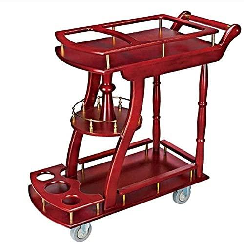 Carro de madera maciza para vino de dos pisos Carro con isla de cocina fácil de mover con 4 ruedas
