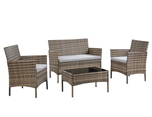 Gartenmöbel-Set aus Rattan für Terrasse, Wintergarten, Innen- und Außenbereich, mit Tisch, Stühlen und Sofa, geeignet für 4Personen (beige)