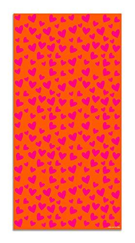 Agatha Ruiz de la Prada Alfombra Vinílica Estampados Básicos Corazones Rosas y Naranjas 40x80cm - Alfombra Cocina Vinilo - Alfombra Salón Antideslizante e Ignífuga - Alfombras Grandes - Alfombras PVC