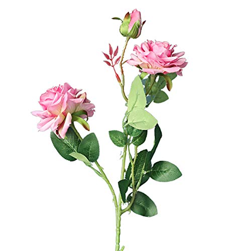 Eamoney 1Pc Artificial Flowers Flocked Fake Plants, Flower Rose Plant DIY Garden Party Home Bridal Weddingfor Home Wedding Christmas Party Office Indoor Table- Purple