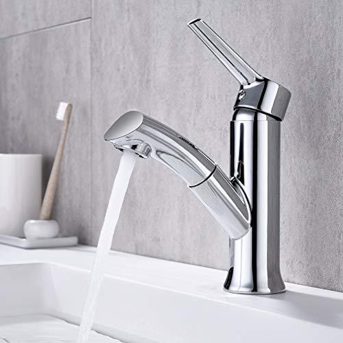 Auralum Wasserhahn Bad Waschbecken Armatur mit herausziehbarer Brause, Bad Waschtisch-Einhebelmischer Mischbatterie Waschtischarmatur für Badzimmer