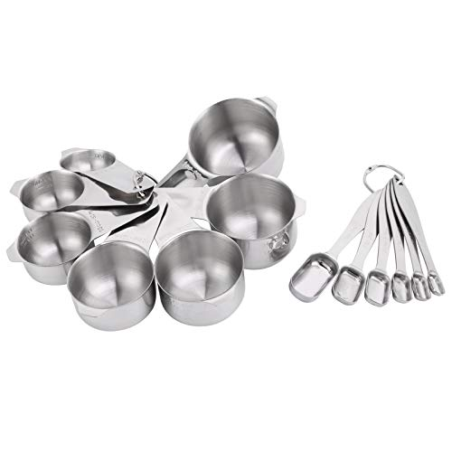 GAESHOW 13Pcs/Set Measuring Cups Spoons with Scales Stainless Steel Spoon Set Kitchen Baking Accessory Easy to Use