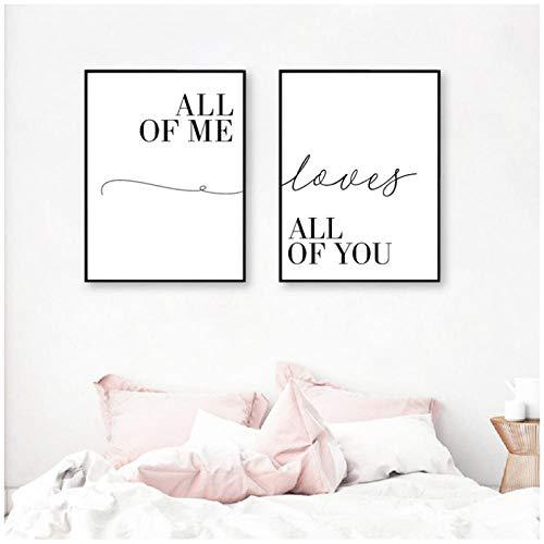 Lienzo Arte de la Pared Pintura All of Me Loves All of You Impresión de Pareja Cartel de Amor Imágenes Decoración de Dormitorio Moderna 40x60cmx2 Sin Marco