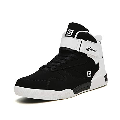 Leader Show Men's Athietic Lace Up Sneaker Fashion High Top Running Shoes (11, Black)
