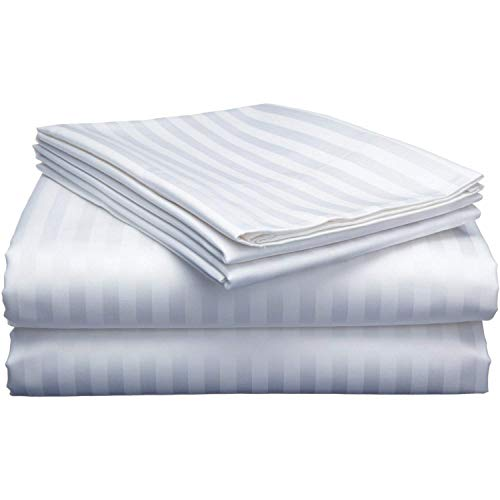 Extra Deep Pocket Sheets (4-Piece) 100% Egyptian Cotton 400 Thread Count Bed Sheet Set 22 inch Deep Pocket of Fitted Sheet with Elastic All Around (Queen, White Stripe)