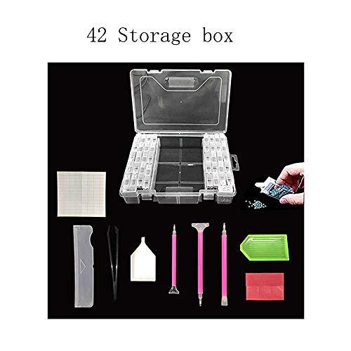5D Diamant Painting Werkzeuge Kit-42Gitter Diamant Stickerei Box Aufbewahrungsbox von Diamant Malerei Zubehör für Nägel,Strass,Perlen,DIY Handwerk Werkzeuge mit Quick Point Stift,Platte,Pinzette,Label