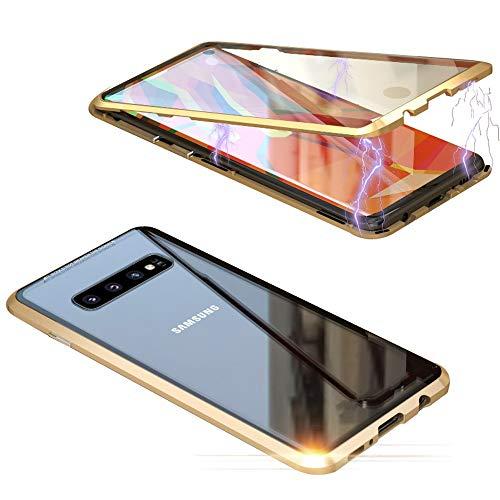Jonwelsy Funda para Samsung Galaxy S10 Plus, Adsorción Magnética Parachoques de Metal con 360 Grados Protección Case Cover Transparente Ambos Lados Vidrio Templado Cubierta para S10+