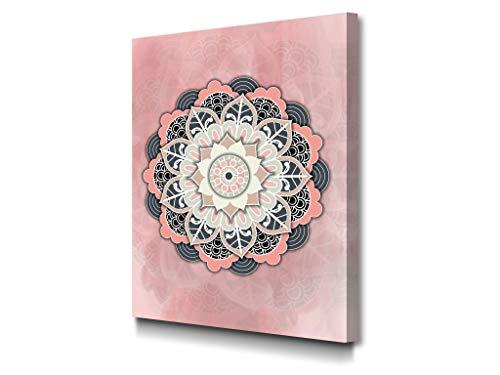 Foto Canvas Cuadro Mandala Rosado   Lienzos Decorativos - Decoración Pared - Cuadros de Salón   30 x 40 cm sobre Bastidor de Madera Grueso Listos para Colgar