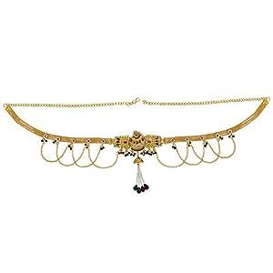 Memoir Brass Gold plated, Wedding design, Kundan Meenakari, Cross Jhalar pattern with Pearl tassled, Stylish Traditional, Waist belt, Belly chain, kamar bandh Traditional Women Bridal jewellery latest