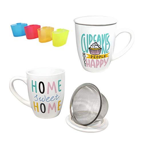 Pack»Tazas de Té Con Tapa y Filtro De Acero Inoxidable 350ml, 2 Tazas desayuno de Porcelana Para Infusiones Café + Posa Bolsitas de Té (Cupcake + Home)