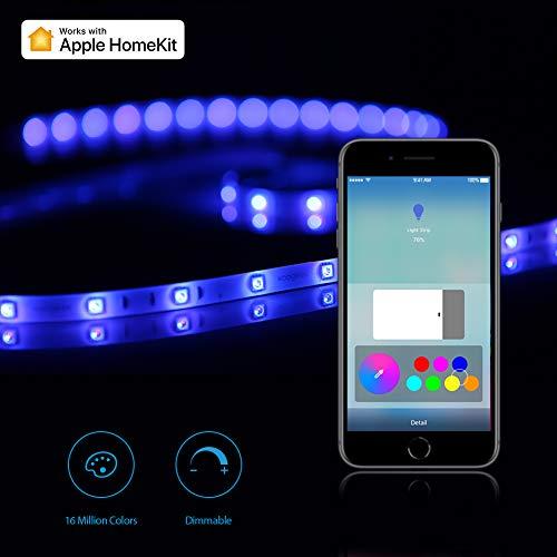Koogeek Tira LED de Iluminación 2M 60×5050RGB Tira LED Flexible USB Alimentado Compatible con Apple Homekit Controlado por Siri para la Decoración del Hogar y Las Fiestas