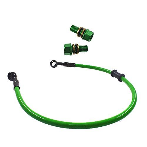 JRL Groen 50cm Brandstof Lijn & 2 x M10 x 1.25 Radiator Slang Bout Voor De meeste Motorfiets